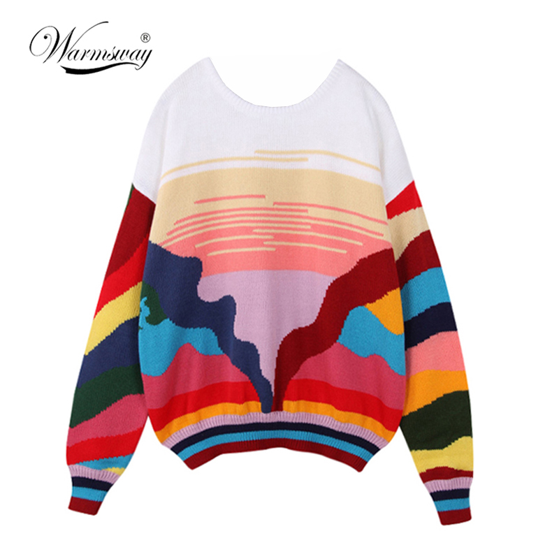 Women New Vintage Warm Sweaters Rainbow Striped Pullovers Winter Spring Knitted Retro Loose Knitted Tops Blusas C-078