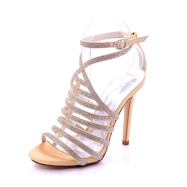 167411b2c888c Creativesugar lady satin sandals summer dress shoes high heels party prom  fashion show rome shoes with rhinestones diamonds gold