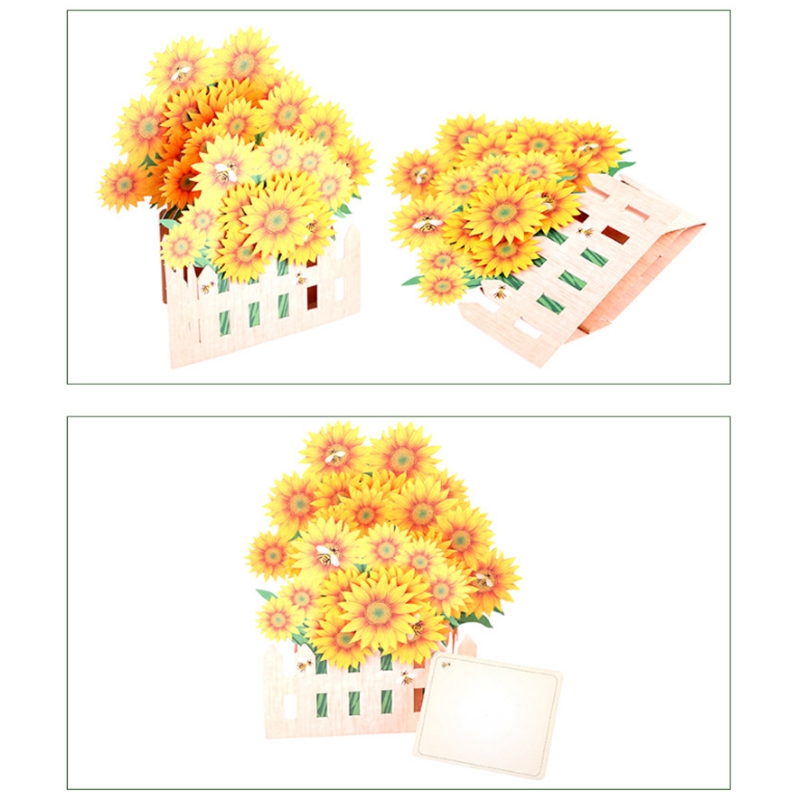 OOTDTY Sunflower Greeting Cards Handmade Birthday Wedding Invitation 3D Pop Up Card Art