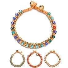 Женский тканый браслет amourjoux винтажный с разноцветными кристаллами