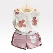 Summer Girl Clothes Two-piece Cartoon Print Do Old Stretch T-shirt Rounded Angle Shorts 2-7 Y Child Quality Clothing Hot Sale summer girl clothes new strap dress rose print children s wear vestidos baby 4 11 y children quality clothing 2019 hot sale