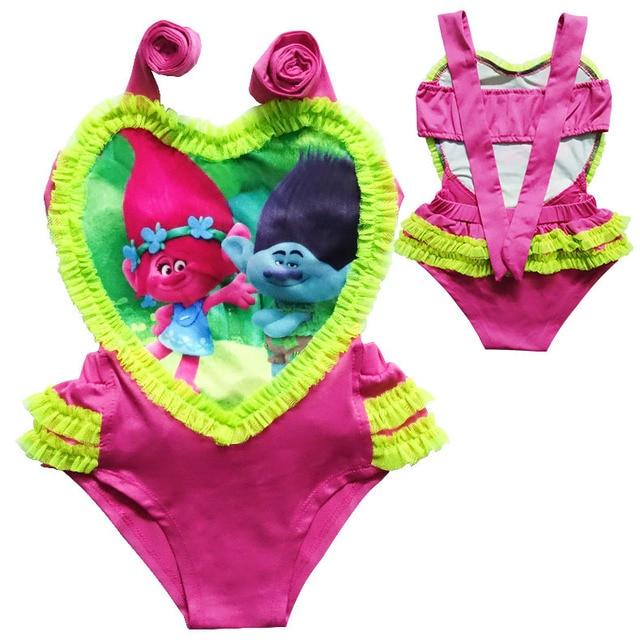 b0fa1665cb Girls Summer Beach Bikini Dresses Kids Swimsuit Clothes Children Trolls  Cartoon Beachwear Swim Wear Dresses Princess Swimmable