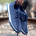 Spring autumn  washed denim canvas shoes new style fashion trend breathable high quality tide loafers classic lace up jean shoes
