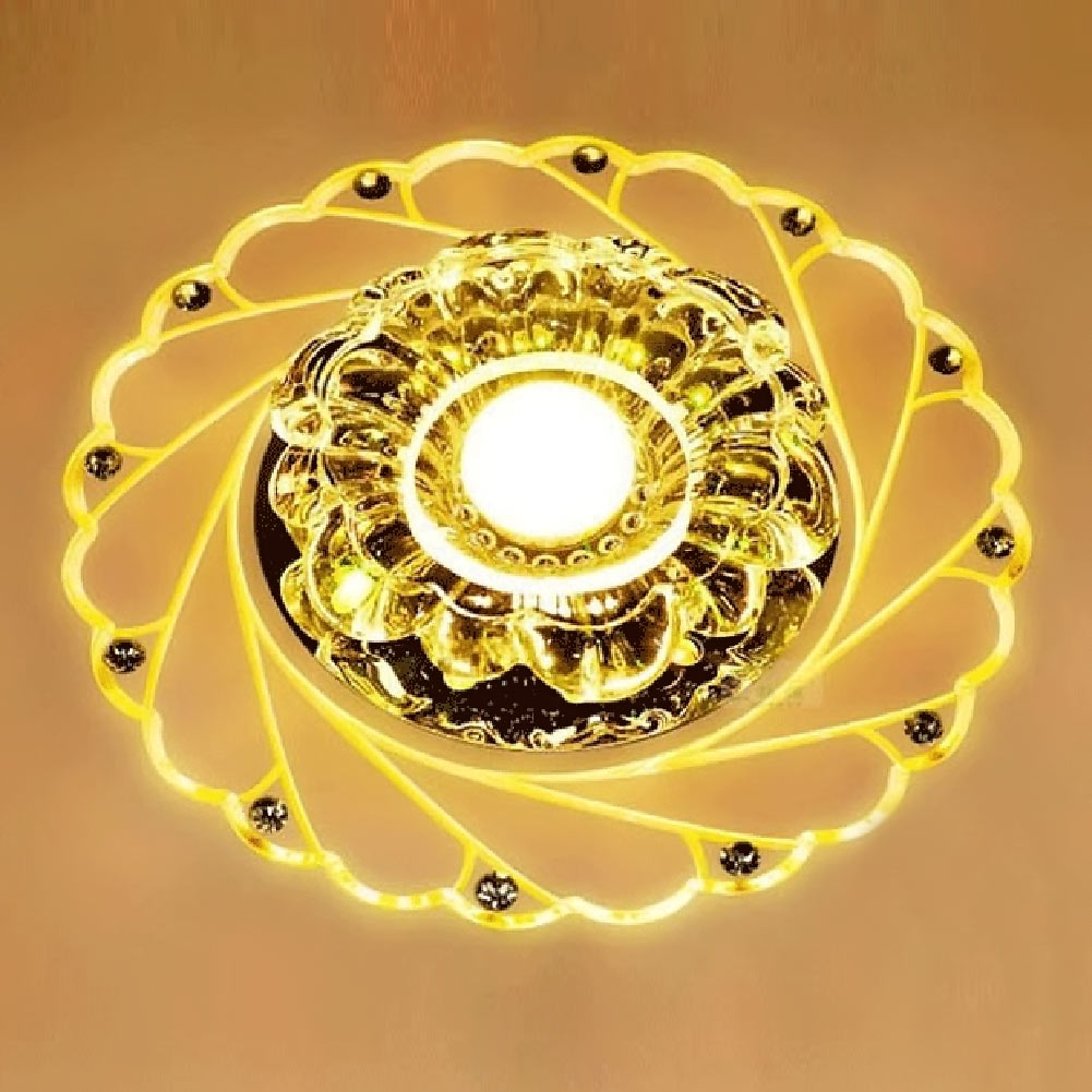 New Peacock Style Led Ceiling Lights Indoor Lighting 220-240V 3W  Luxury Lustre Cristal Plate Glass Ceiling Lamp for Hallway