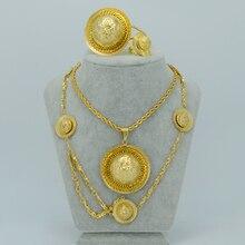 Etíopes Tradicionales Jewelry set Collar/Anillo/Del Brazalete/de La Frente de La Cadena Chapado En Oro 22 k Eritrea Etiopía Artículos # LS00001