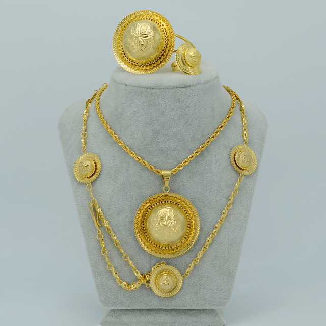 Ethiopian Traditional Jewelry set Necklace/Ring/Bangle/Forehead Chain Ethiopia Gold Plated  Eritrea Items #LS00001