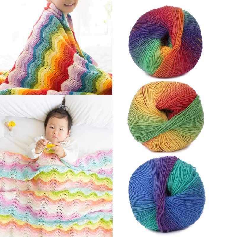 1Ball 50g Hand-woven Rainbow Colorful Crochet Cashmere Wool Blend Yarn Knitting