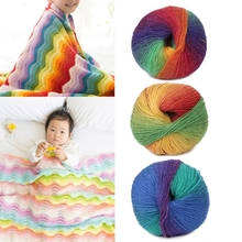 1Ball 50g Hand-woven Rainbow Colorful Crochet Cashmere Wool