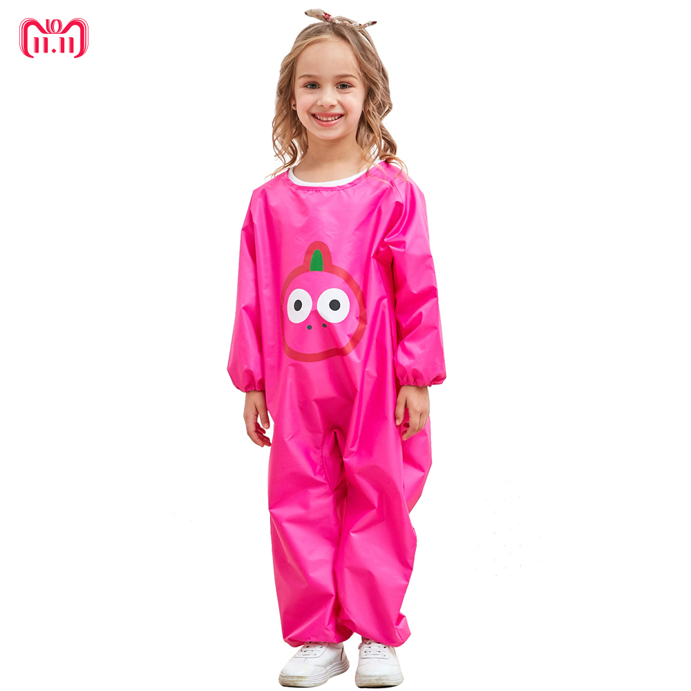 2018 Children Four Seasons Waterproof Rainwear Gown Anti-Dressing Eating Clothes Kids Clothing for Boys Girls Frog printed Dress тарелочки constructive eating