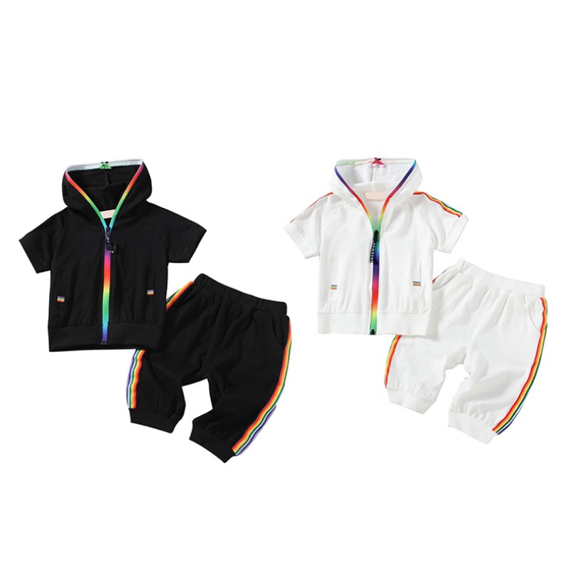 Summer Baby Boys Girls Sportswear Kids Short Sleeve Colorful Zipper Hooded Clothing Outfit Set 1-5YSummer Baby Boys Girls Sportswear Kids Short Sleeve Colorful Zipper Hooded Clothing Outfit Set 1-5Y