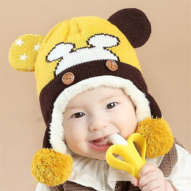 Lovely Autumn Winter Children Baby Caps Protect Ears Toddlers Baby Warm Cap Girls Ear Crochet Knitted Infant Hat for Kids Gift
