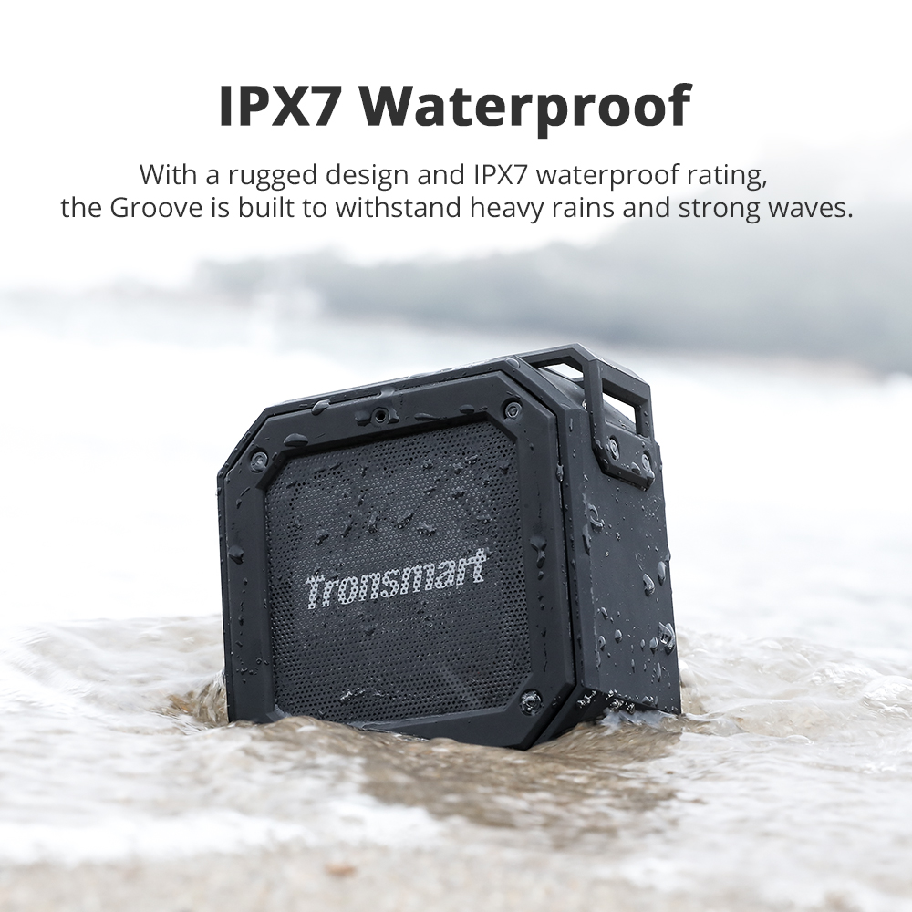 tronsmart element groove (force mini) bluetooth speaker with ipx7 waterproof and 24h playtime