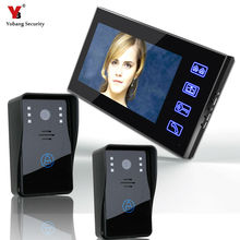 freeship 7 inch color video door phone with IR night version IR camera video door bell Kit 2-camera 1-monitor Night Vision Wired