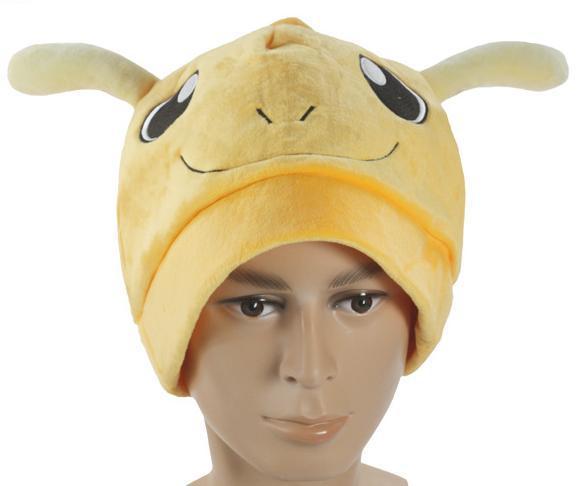 10pcs/lot Anime Cartoon Poke mon Monsters Dragonite Plush Hat Cosplay Hat Cap Warm Winter Hat Free Shipping