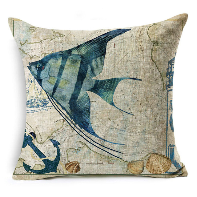 Vintage Style Sea World Cushion Cover 2