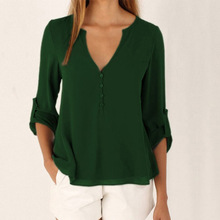 Plus Size V-neck Chiffon Maternity Blouse