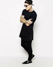 long t-shirt Men Hip Hop Black t-shirt 2017 Longline Extra Long tee shirt for male Zipper Tops Over Size Streetwear tshirt