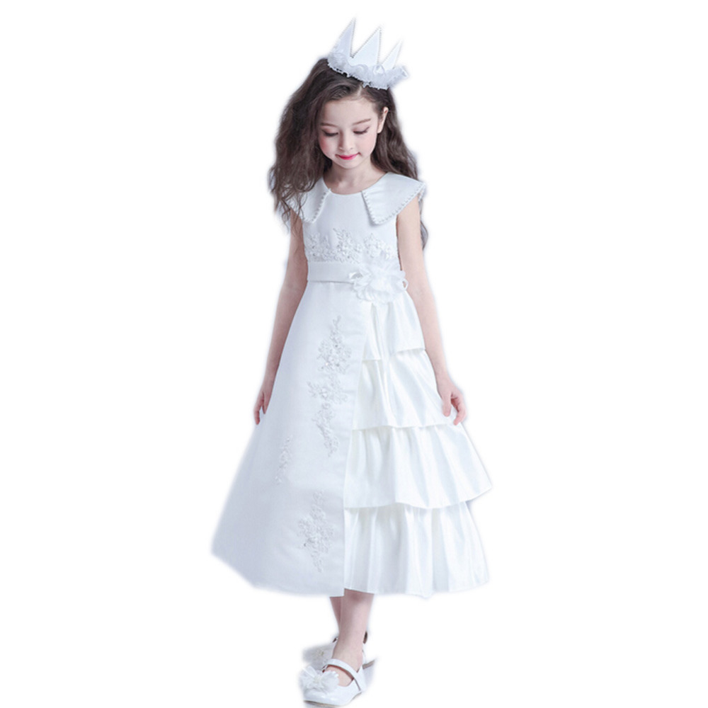 Sleeveless Lace Flower Girl Dress Tulle Girls Pageant Dresses for Girls Gown A-Line Satin Holy Communion Dress For Wedding long sleeve lace flower girl dress for wedding tulle girls pageant dresses little for girls gown ball gown holy communion dress
