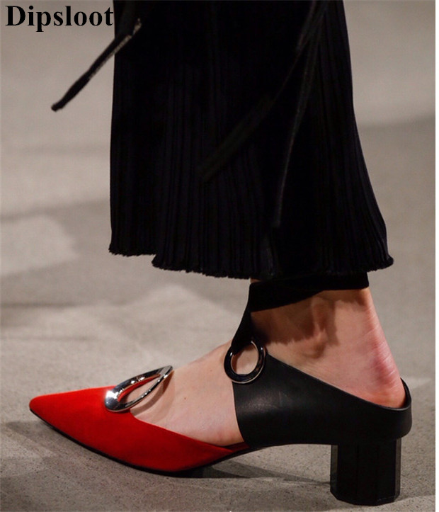 Dipsloot 2018 Fashion Mixed Color Fretwork Woman Slides Sandals Slip-on Slingback Shoes Thick Heels Dress Shoes Runway Shoes