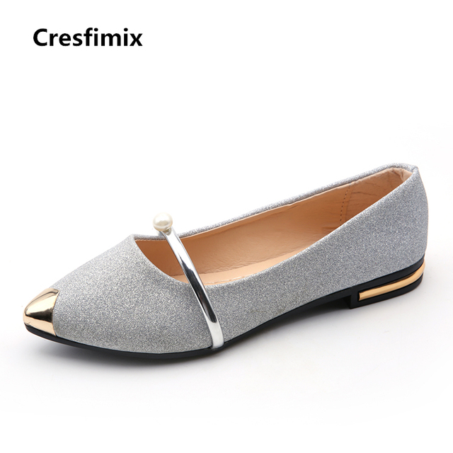 87d844cd7f7 Cresfimix women sexy party night club flat shoes female casual silver    golden flats lady cute summer pu leather slip on shoes