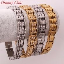 Granny Chic 9″*15MM New Arrival Fashion Jewelry Men Women Crystal Bracelets Silver Gold 316L Stainless Steel Bracelets & Bangles