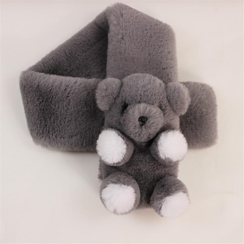Intersection Shape Women Childrens Ring Warm Winter Scarf Cute Cartoon Bear Imitation Faux Rabbit Fur Collar Girl Boys Scarves