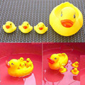 100 sets X 4 pcs baby kids Cute Bath Ducky Baby Small Yellow Ducks Swimming Bath Squeezed Dabbling suit for bathroom shower use