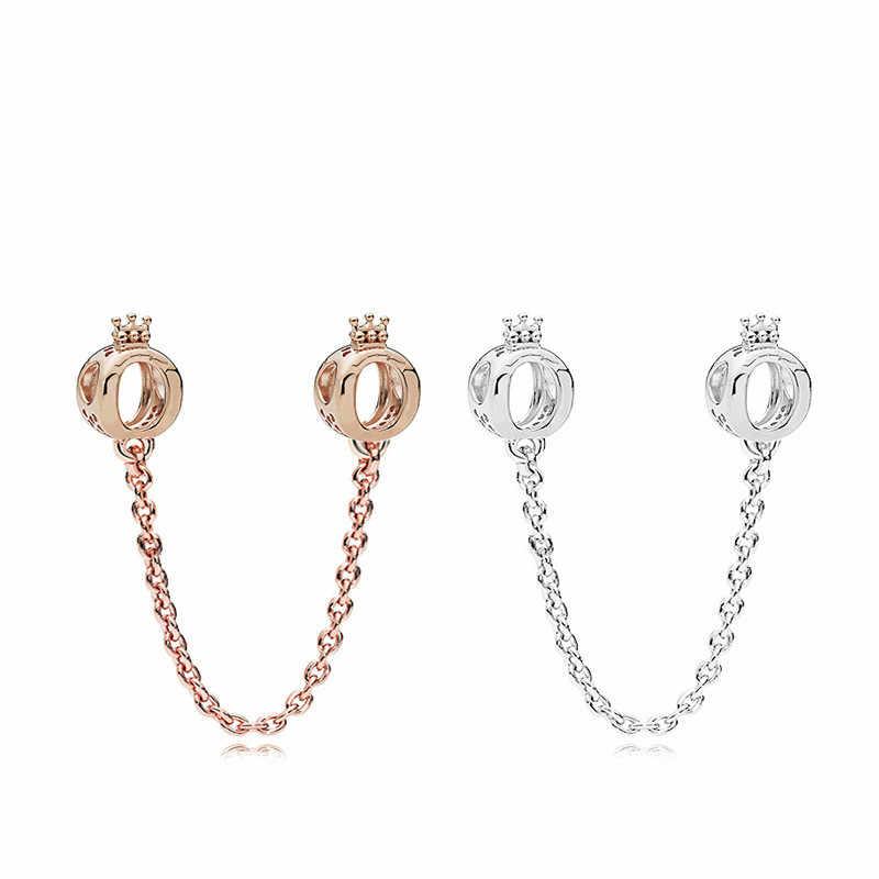 5 PCS Bijoux Rose Gold/Silver เครื่องประดับมงกุฎ 0 แหวนความปลอดภัยรอบลูกปัดสำหรับเครื่องประดับทำพอดีผู้หญิงสร้อยข้อมือ Pandora Charm