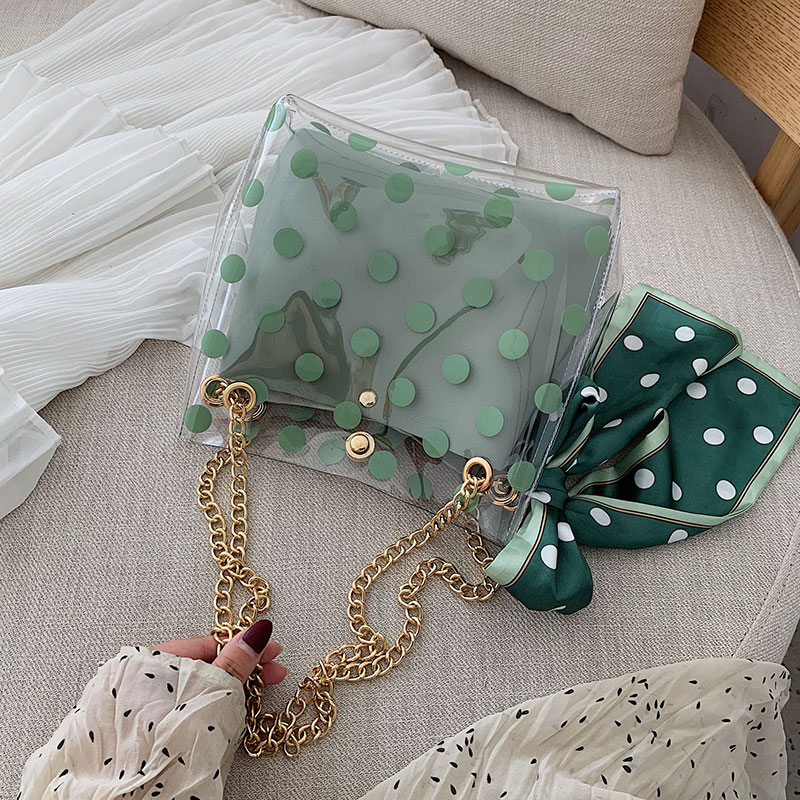 Ribbon Bow Transparent Jelly Bag 2019 Summer New High Quality PVC Women's Designer Handbag Travel Chain Shoulder Messenger Bag