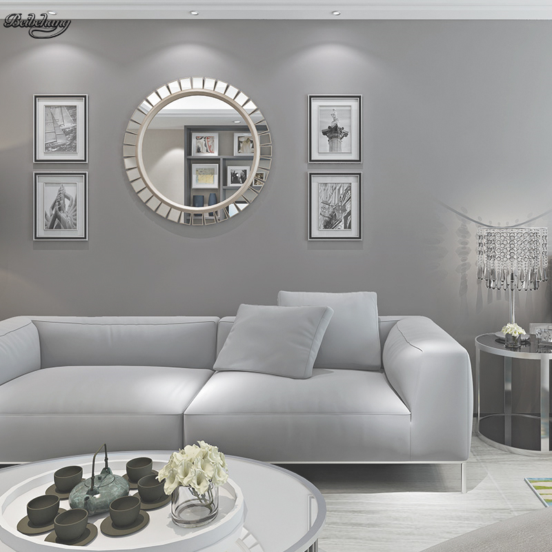 Living Room In Bedroom: Beibehang Dark Gray Non Woven Long Fiber Wallpaper Pure
