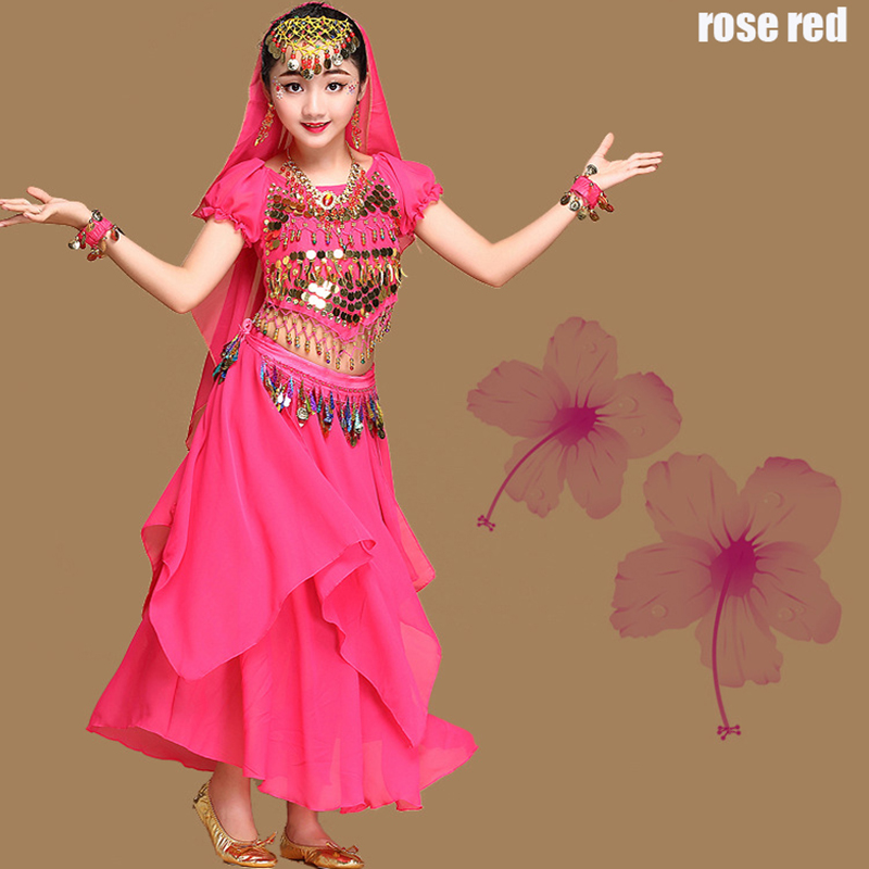 New 6Set Kids Belly Dance Costumes Children Indian Belly Dancing Girls Bollywood Stage Performance Dancewear Clothing