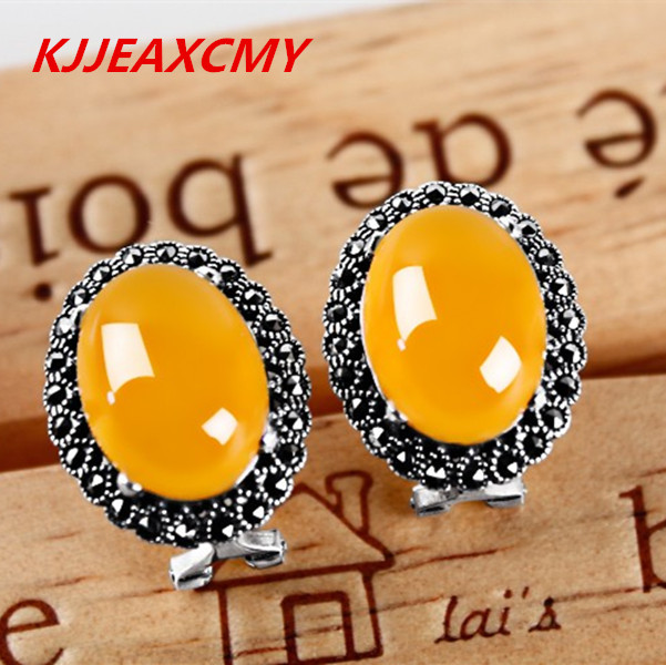 KJJEAXCMY 925Thai silver green chalcedony Agate Earrings ear ear retro elegant women folk style sht10 11 5 road multi channel temperature and humidity acquisition module communication rs485 modbus rtu