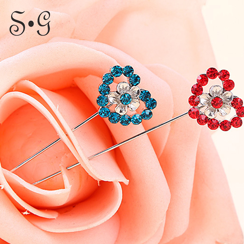 Wholesale 12pcs/pack Pin heart crystal Women Safety Scarf Pin New Hijab Pins Rhinestone Muslim Hijab Brooches women brooch