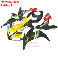 Injection fairing kit For YAMAHA yzf r1 04 2004 ( yellow & decal ) YZFR1 05 Fairings lx21