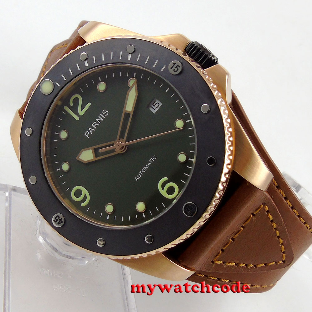 43mm Parnis green dial Sapphire Glass ceramic bezel Automatic mens Watch P59443mm Parnis green dial Sapphire Glass ceramic bezel Automatic mens Watch P594