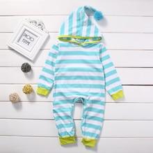 0-18M Newborn Striped Hooded Romper