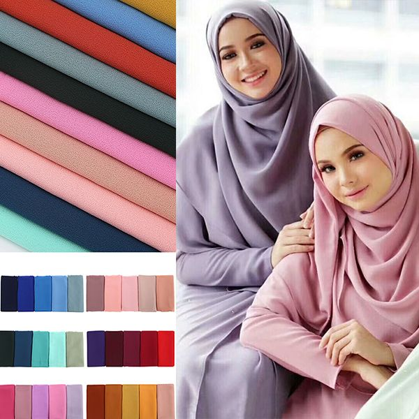 Women Plain Bubble Chiffon Scarf/Scarves Hijabs Muslim Hijabs Turban Headband Cloth Wrap Solid Color Shawls Headband Maxi Shawl(China)