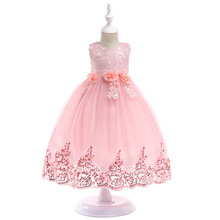 2019 Summer Beaded Sequined Lace Mesh Birthday Party Tutu Princess Dress Kids Dresses For Girls Children Baby Clothes