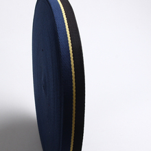 high quality twill cotton webbing tape black/yellow/blue color 35mm heavy