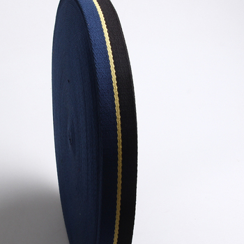 high quality twill cotton webbing tape black/yellow/blue color 35mm heavy  cotton tape