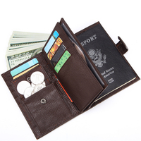 New Fashion Business Men's Certificate Bag Wallets Cow Genuine Leather Short Wallet Passport Wallet Brand Luxury Card ID Holders