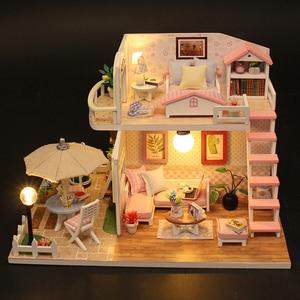 Image 5 - DIY בית בובות מיניאטורות עץ בית בובות Miniaturas ריהוט בית צעצוע בובת צעצועי מתנת בית תפאורה קרפט צלמיות M33