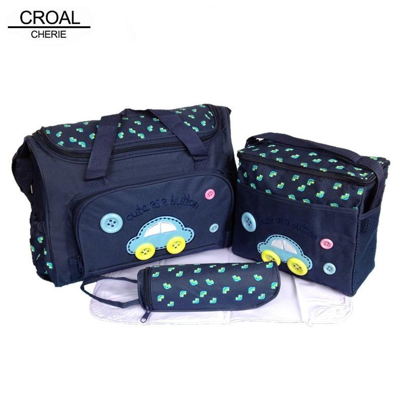 CROAL CHERIE 40*29*14cm 4PCS Car Print Mother Bag Baby Diaper Bags Sets Multifunctional Baby Nursing Nappy Bag For Mom Organizer