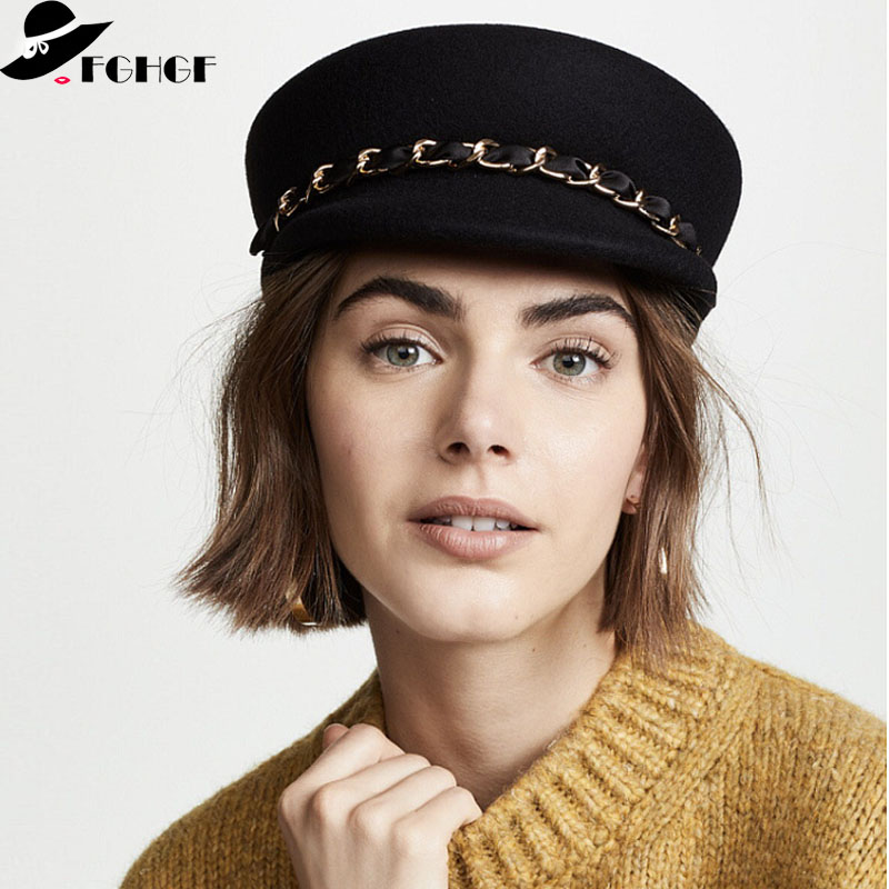 71e21f4f6 2019 New Trendy Wool Felt Cap with Chain Around Winter Women Beret Hat Black  Gray Visor