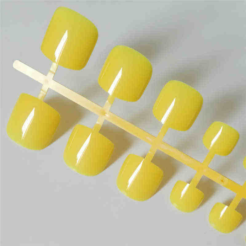 Candy Yellow Press On Nails Feet Square Glossy Short Fake Toe Nails For Girls Acrylic Nail False Artificial Without Glue