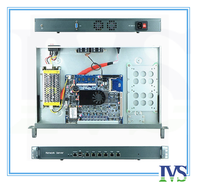 High cost effective 1U router / firewall server with Atom D525,6*Intel 82583V 1000mbps Lan MB,120W PSU