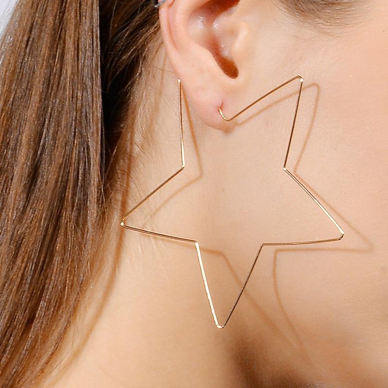 ES541-Grande-Em-Forma-de-Estrela-Brincos-Simplicidade-Fio-De-Cobre-Handmade-Brinco-para-As-Mulheres