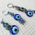 Turkey Evil eye Keychain Glass Pendant Key Ring Bag Charm Car Protection Stainless Steel Blue Eye