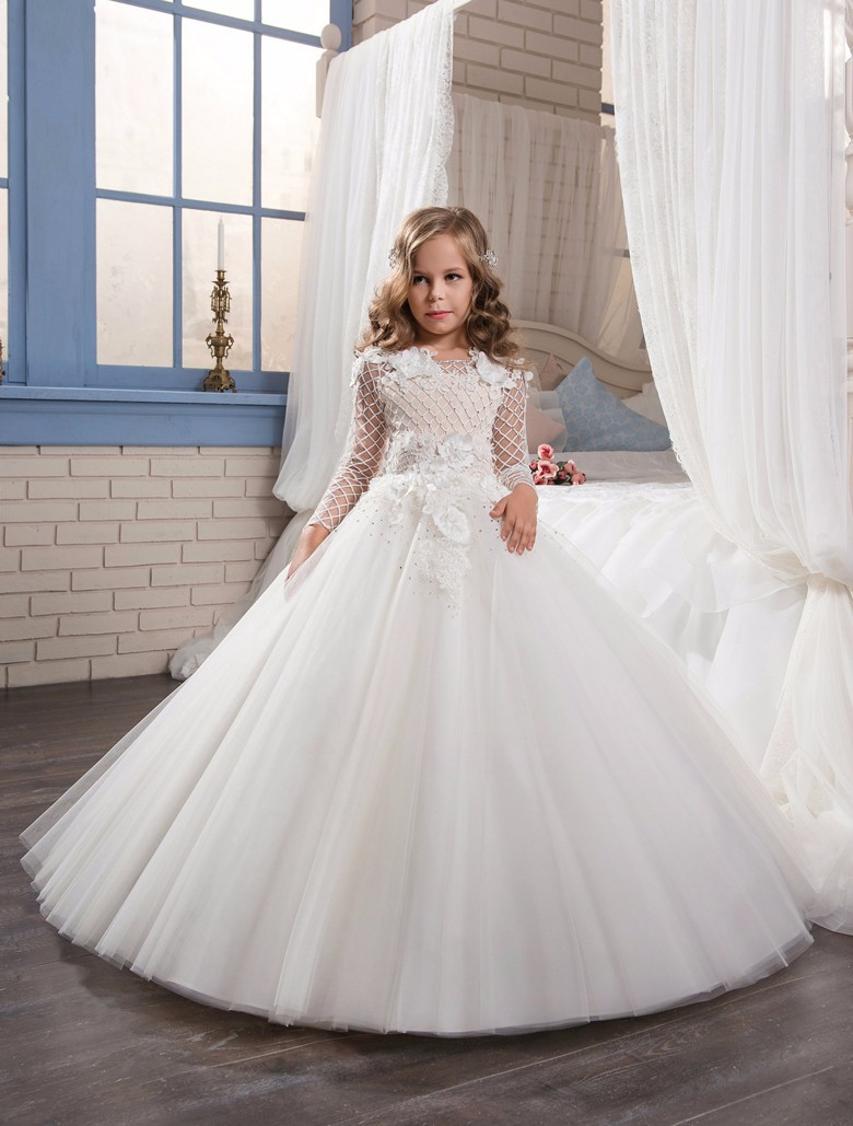 White Wedding Dress for Girl Dresses 2018 Long Sleeve Tulle Ball Gown Flower Girl Dresses Floor Length Girls Pageant Dress long sleeve lace flower girl dress for wedding tulle girls pageant dresses little for girls gown ball gown holy communion dress