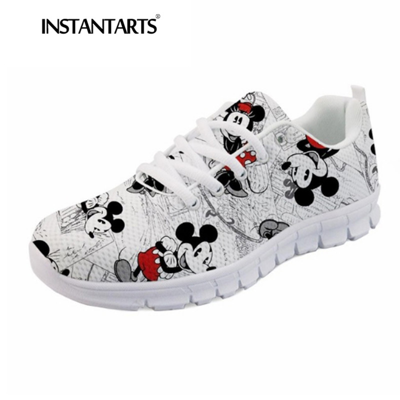 INSTANTARTS Casual Lace Up Flats Cute Cartoon Sneakers for Youth Girl Boy 3D Print Women Breathable Mesh Sneakers Walking Shoes instantarts pink sneakers women casual flats cute cartoon pediatrics bear doctor nurse pattern lady air mesh laces up flat shoes